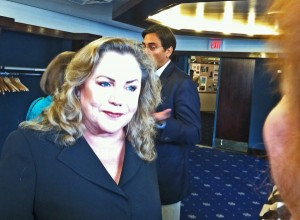 Still one very pretty woman, Kathleen Turner turned out to be warm and genuinely interested in meeting us.