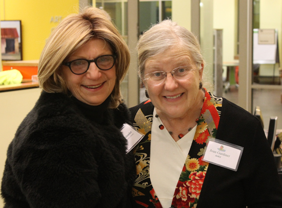 Linda Holtslander, Community Relations for Loudoun County Library, and artist Joan Gardiner.