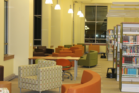 There's plenty of comfortable seating at the light-filled new Gum Spring Library.