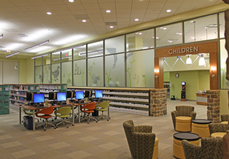 Kids have their own special and separate section at the new Gum Spring Library. Pictured is the entry to the Children's section.